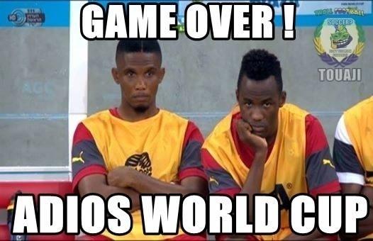 """""""Fim de jogo. Adeus Copa do Mundo"""". Eto'o se despede da Copa"""