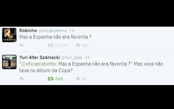 Internautas pegaram no pé de Robinho no Twitter por comentário sobre a Espanha