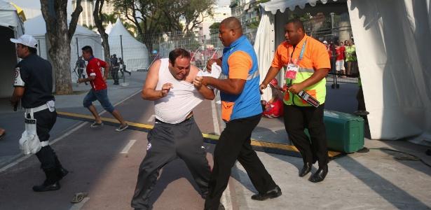 Segurança protege centro de imprensa em invasão de chilenos ao Maracanã