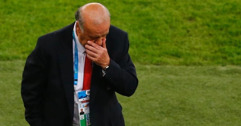 Técnico Vicente Del Bosque também não suportou a desclassificação da Espanha da Copa do Mundo
