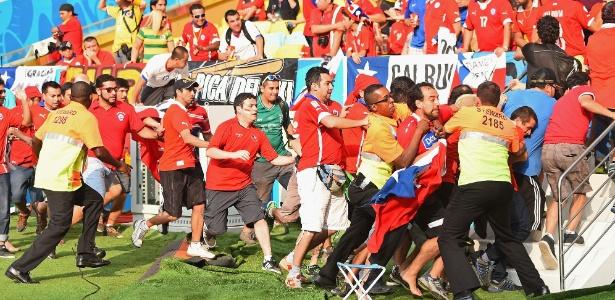 Torcedores chilenos invadiram o Maracanã antes de Espanha x Chile, na quarta