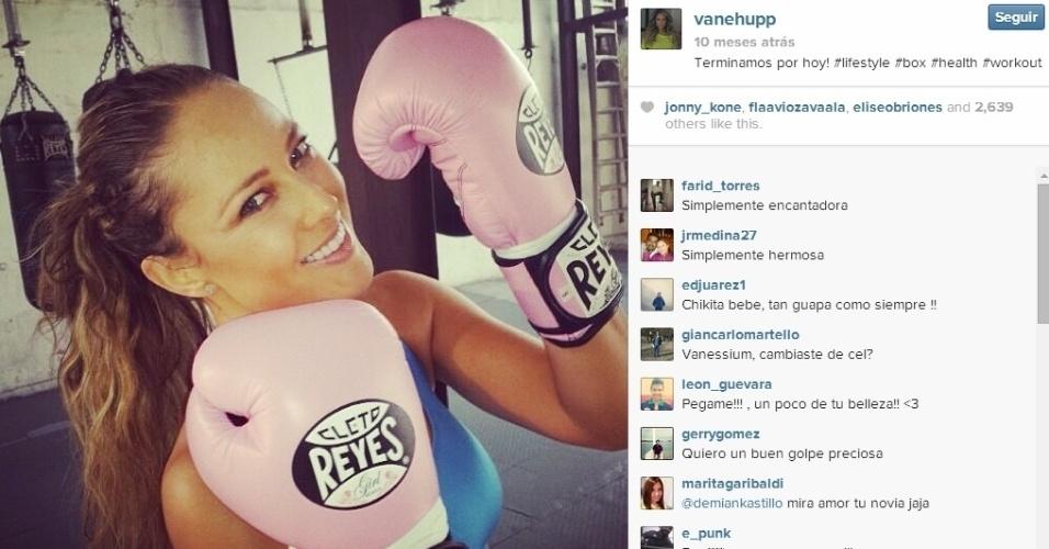 Vanessa mostra que gosta de suar na academia, com direito a treinos de luta