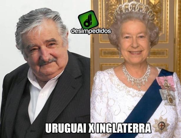 Duelo entre presidente e rainha no jogo de Uruguai e Inglaterra