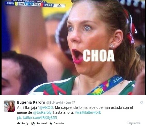 Eugenia Karolyi virou meme por sua cara de espanto durante o empate entre Brasil e México