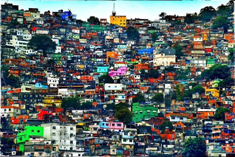 Favela da Rocinha durante visita da Inglaterra ao complexo