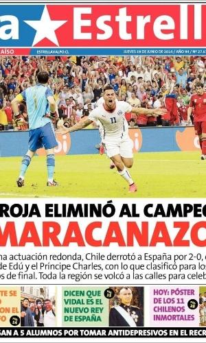 Jornais chilenos comemoram classificação da equipe após vitória sobre a Espanha no Maracanã