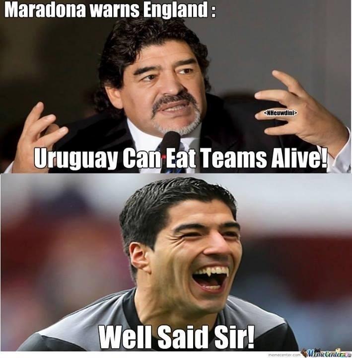 """""""Maradona avisou a Inglaterra: Uruguai pode comer os adversários vivos. Bem colocado, senhor"""""""