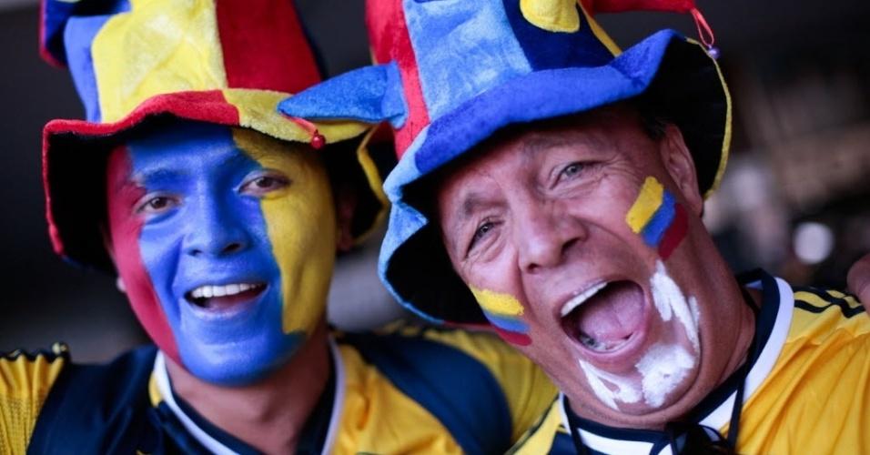 Torcedores da Colômbia chegam ao Mané Garrincha com rosto pintado e muita animação