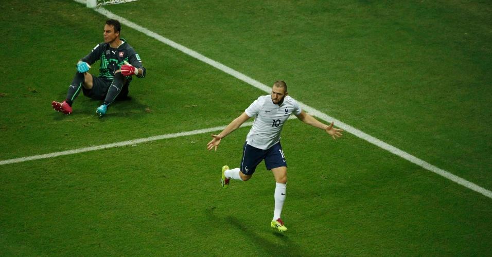 Benzema marca seu terceiro gol na Copa e o quarto da França na vitória contra a Suíça na Fonte Nova