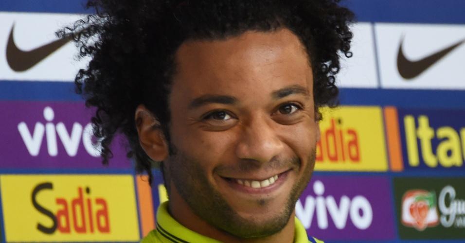 Marcelo sorri durante coletiva nesta sexta-feira