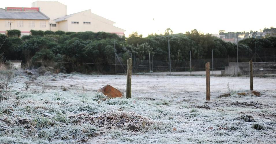 O branco do gelo tomou a paisagem de São Joaquim após a madrugada mais fria do ano na última semana