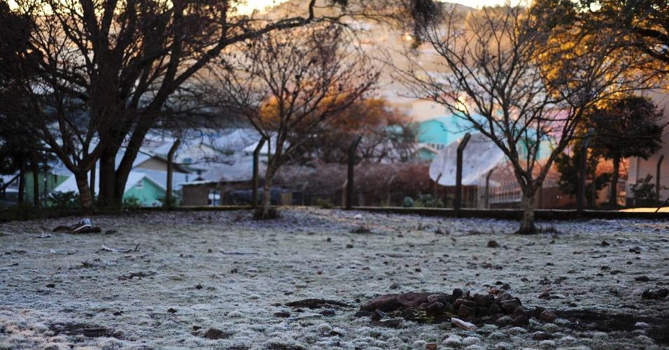 Paisagem de São Joaquim, em Santa Catarina, após a madrugada mais fria do ano