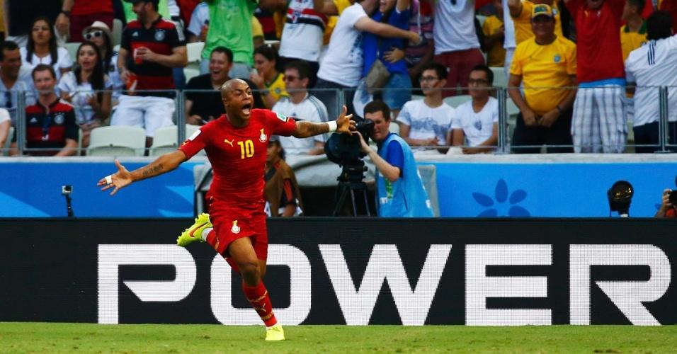 21.jun.2014 - Andre Ayew celebra o gol de empate da seleção de Gana contra a Alemanha, no Castelão