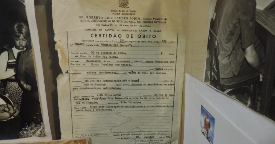 Atestado de óbito de Mané Garrincha, que faleceu em 20 de janeiro de 1983