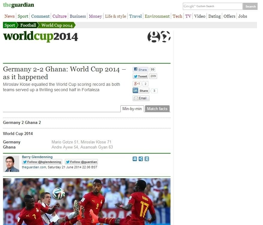 """Comedido, The Guardian lembra que Klose """"iguala recorde de gols em Copas do Mundo"""""""