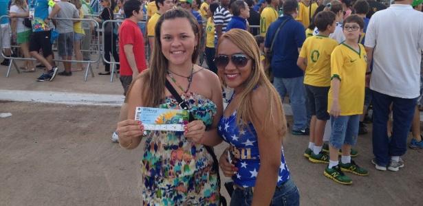 Edma e Carla, moradoras de Cuiabá que estão na Arena Pantanal