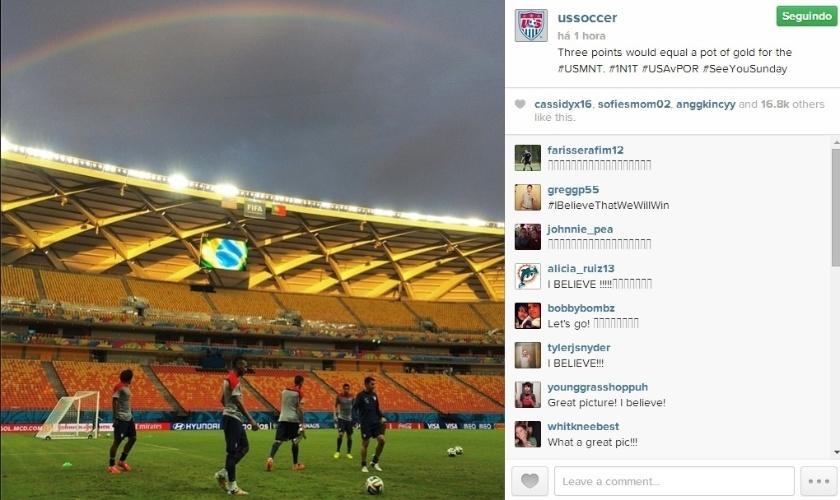 Estados Unidos treina em Manaus e  arco-íris aparece em meio ao céu fechado