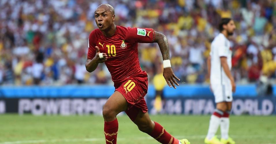 21.jun.2014 - Ganês Andre Ayew comemora o primeiro gol de Gana contra a Alemanha. O jogo terminou empatado por 2 a 2