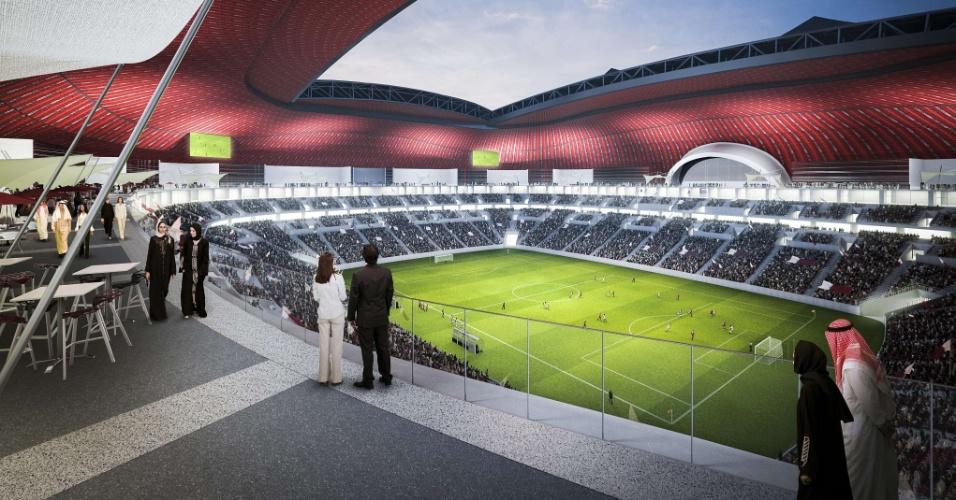 Imagens luxuosas do estádio Al Bayt foram divulgadas pelo Qatar