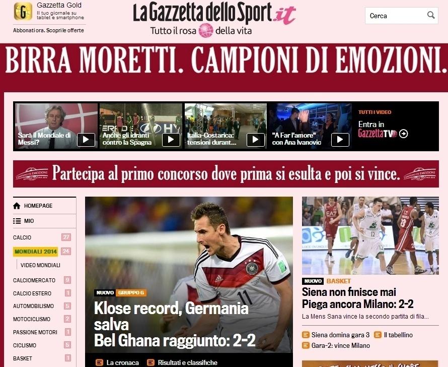 Italiana Gazzetta detaca gol do recorde de Klose