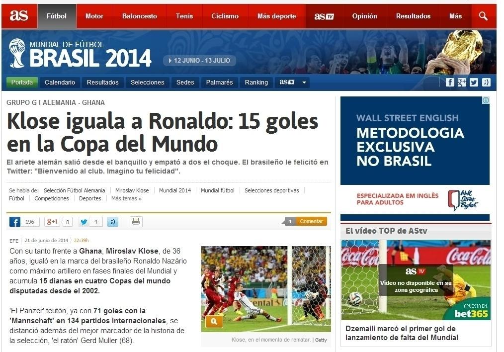 """Jornal espanhol AS destaca: """"Klose iguala a Ronaldo"""""""