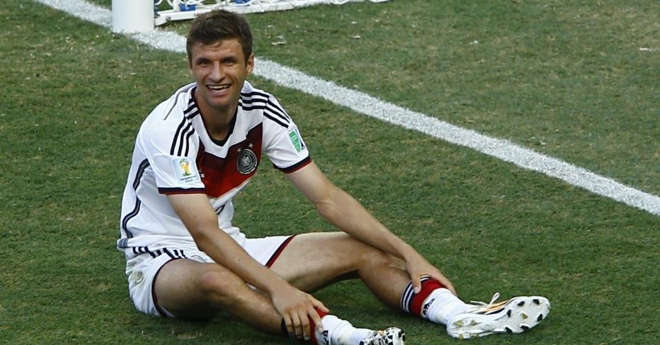 Mueller, da Alemanha, ao perder um gol contra o Gana, no Castelão, em Fortaleza