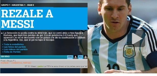 Olé exalta Lionel Messi após a vitória sobre o Irã
