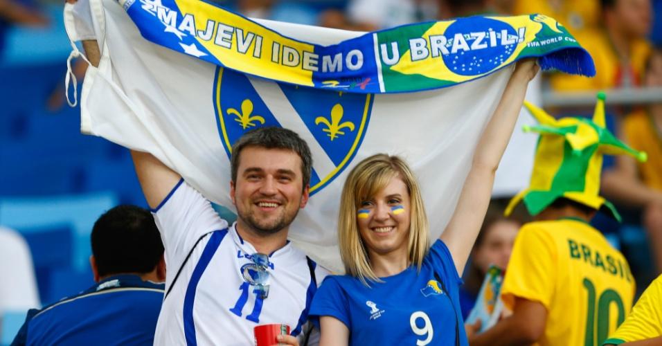 """""""Os Dragões rumo ao Brasil"""", diz a faixa exibida na Arena Pantanal. Dragões é como a seleção da Bósnia é conhecida"""
