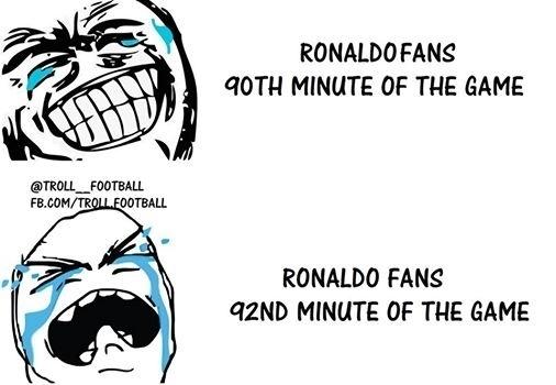 Os fãs de Cristiano Ronaldo quase conseguiram rir de Messi. Quase