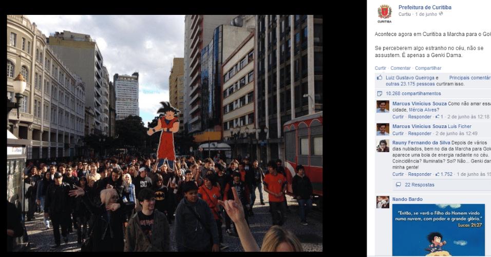 Personagem da série Dragonball, Goku virou até tema de marcha em Curitiba