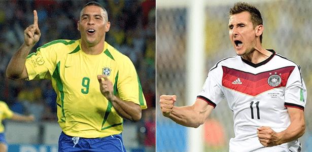 O brasileiro Ronaldo e o alemão naturalizado Klose, que marcaram 15 gols cada em Copas do Mundo