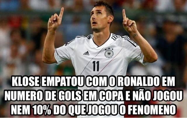 """""""Klose empatou com Ronaldo em número de gols na Copa e não jogou nem 10% do Fenômeno"""", defendem fãs do brasileiro"""