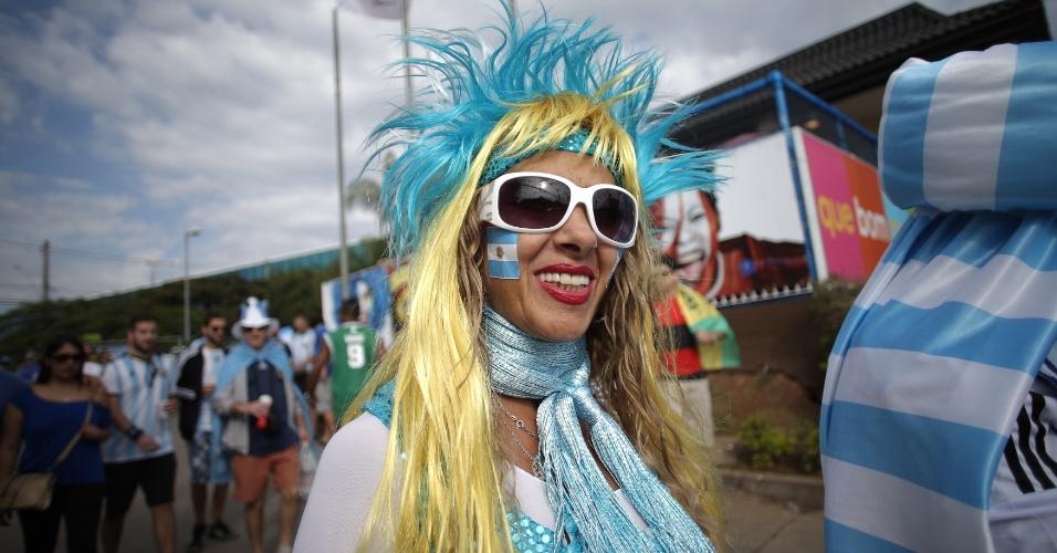 Torcedora argentina chega ao Mineirão para o jogo contra o Irã