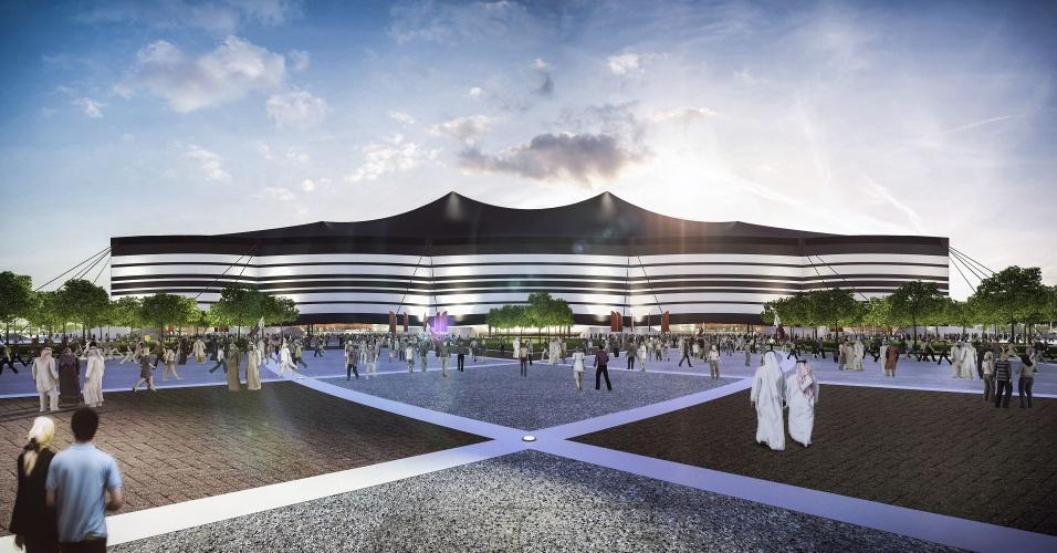 Visão externa do estádio Al Bayt, palco que receberá uma das semifinais da Copa de 2022, no Qatar