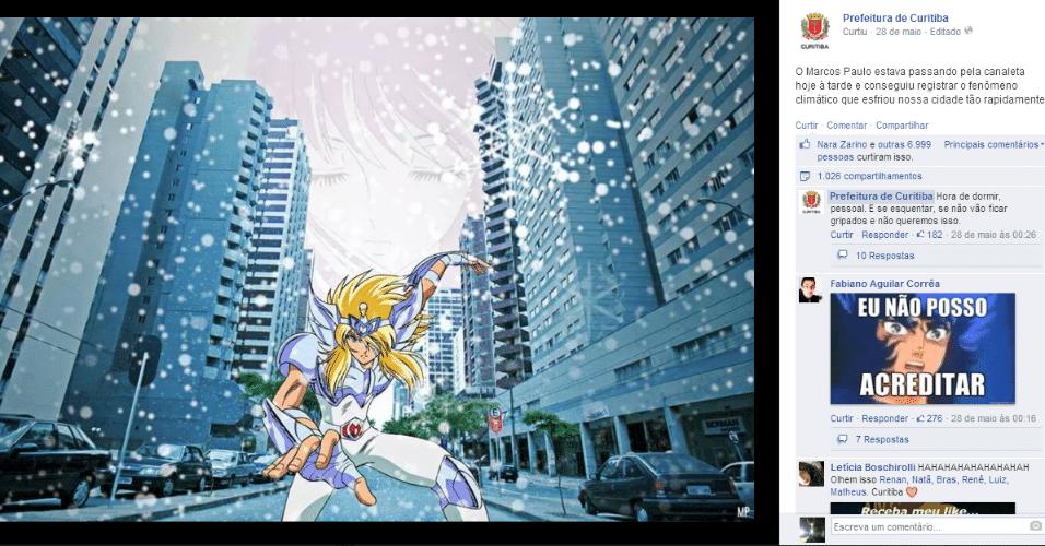 Yoga, outro personagem da série Cavaleiro do Zodíaco, representa o frio da capital paranaense