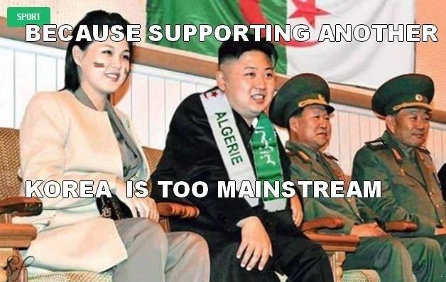 """A Argélia contou com uma torcida especial diretamente da Coreia do Norte: """"porque torcer para outra Coreia é muito mainstream"""""""