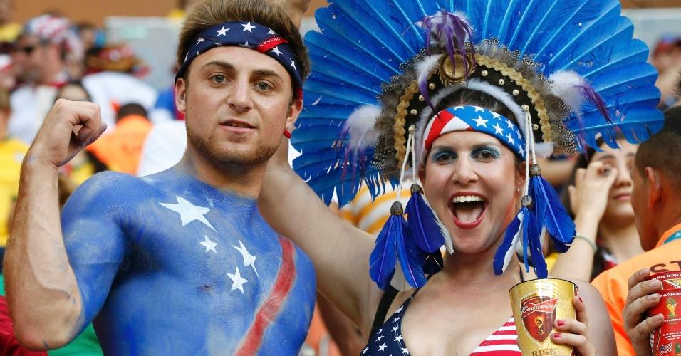 Americanos capricham na pintura e no cocar para o jogo contra Portugal na Arena Amazônia