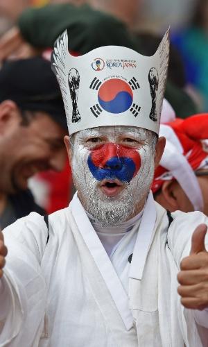 Chapéu do torcedor da Coreia do Sul lembra quando o país foi sede da Copa do Mundo, em 2002