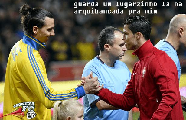 Cristiano Ronaldo já pede para Ibra guardar um lugarzinho na arquibancada para ele