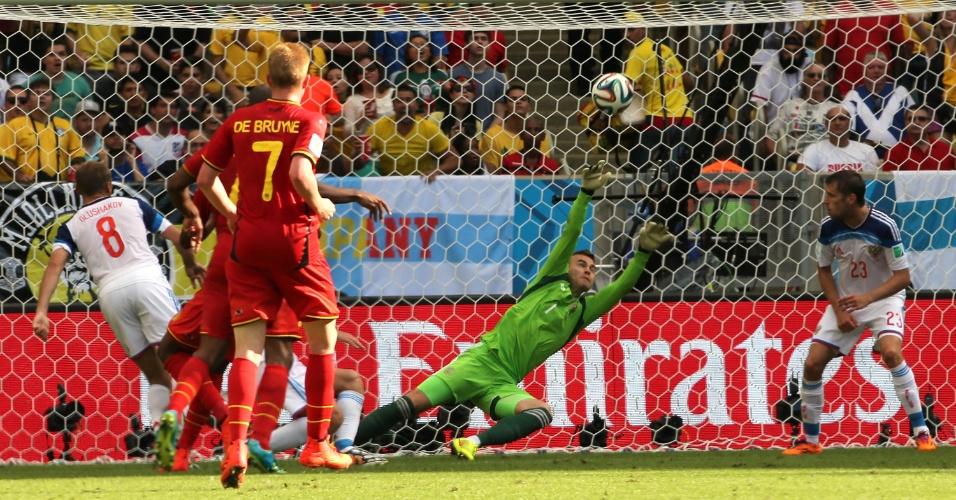 Origi chutou sem chances para o goleiro Akinfeev e garantiu a vitória da Bélgica sobre a Rússia