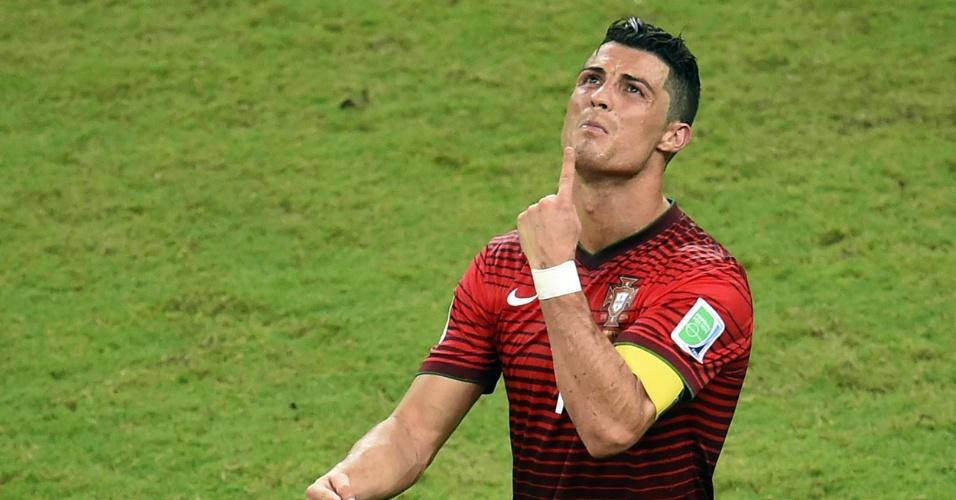 Principal estrela de Portugal, Cristiano Ronaldo lamenta lance durante o jogo contra os Estados Unidos