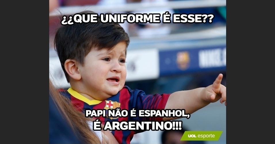 Que uniforme é esse? Papi não é espanhol, é argentino!!!