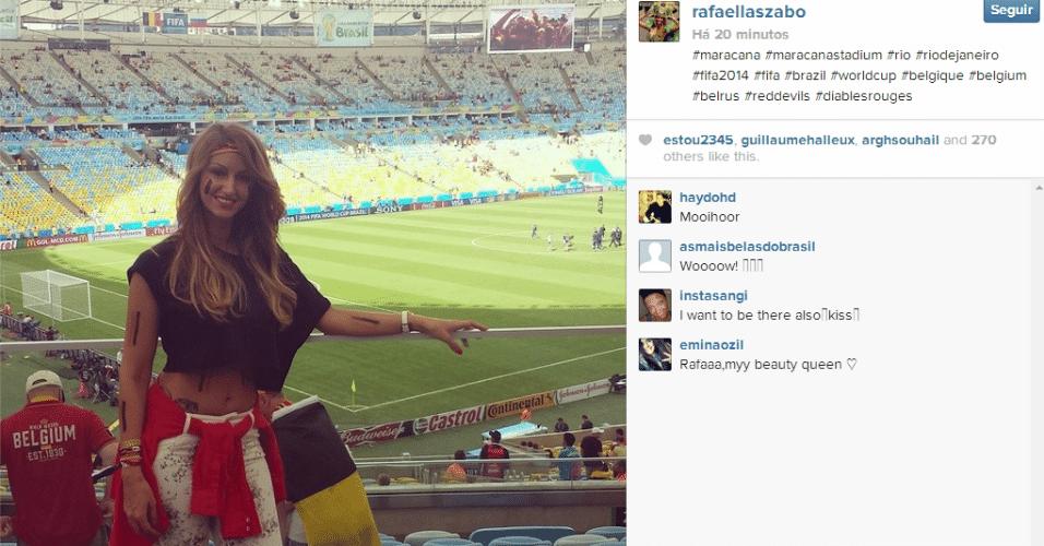 Rafaella Szabo, mulher do meia da Bélgica Axel Witsel, posta foto no Maracanã antes de jogo contra a Rússia