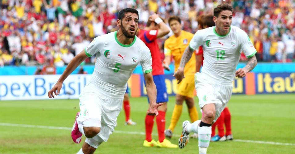 22.jun.2014 - Rafik Halliche, da Argélia, comemora após marcar o segundo gol contra a Coreia do Sul, no Beira-Rio