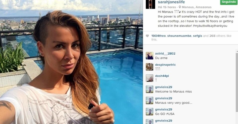 Sarah Jones, mulher do jogador americano Jermaine James sofre com falta de energia em Manaus.