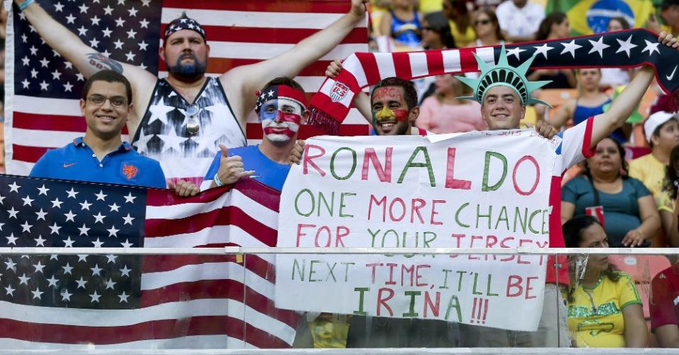 Torcedores na Arena Amazônia mandam recado para Cristiano Ronaldo, craque da seleção de Portugal