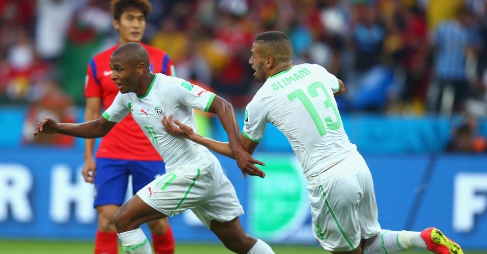 22.jun.2014 - Yacine Brahimi, da Argélia, comemora o quarto gol da equipe contra a Coreia do Sul no Beira-Rio