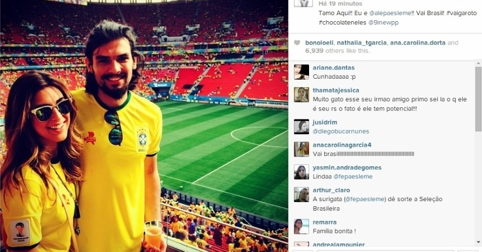 23.06.2014 - Fernanda Paes Leme foi acompanhada ver o jogo do Brasil