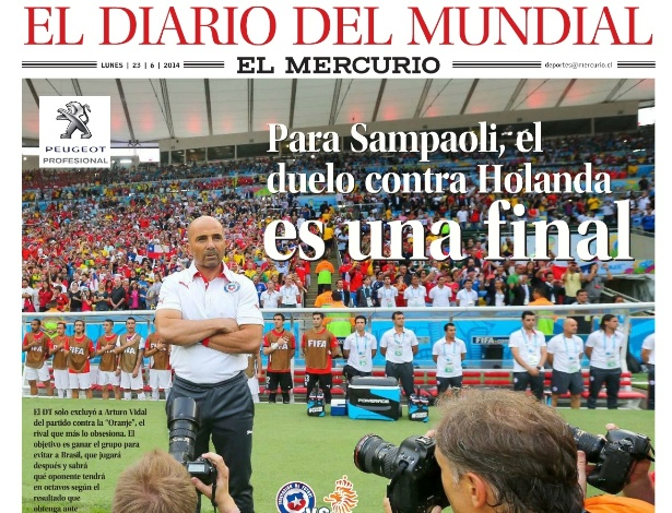 """Capa de esportes do chileno El Mercurio, no qual estampa a manchete sobre a """"final"""" entre Holanda e Chile"""