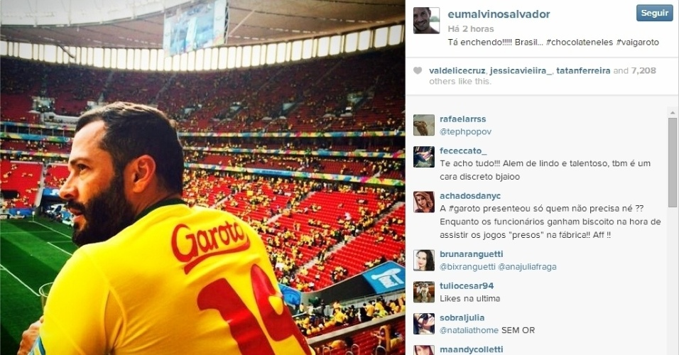 23.jun.2014 - Malvino Salvador foi ao Mané Garrincha torcer pelo Brasil contra Camarões